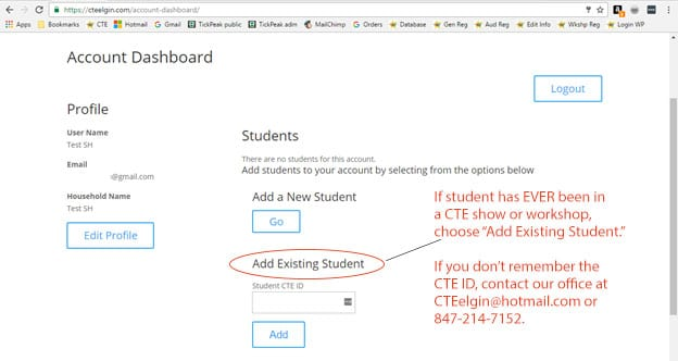 CTE account dashboard about CTE ID use